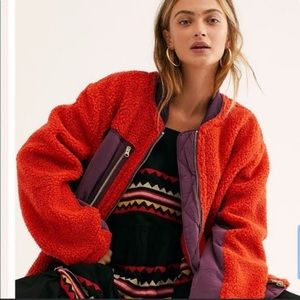 NWT Free People Faux Shearling Coat in RED